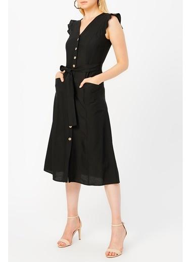 Random Kadın Önden Düğmeli Kolu Volanlı Elbise Siyah